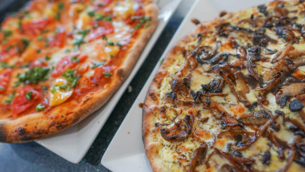 Homemade Margherita and Mushroom Pizza