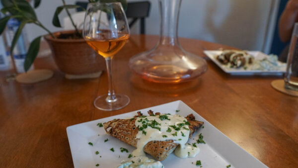 Orange Wine with Mushroom Crepe
