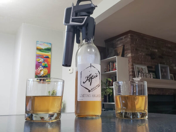 Enjoying a mead sample with a Coravin
