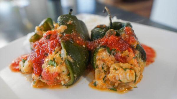 Shrimp Stuffed Poblano Peppers