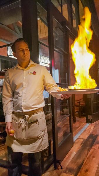Flaming Cheese at Wine Bar George