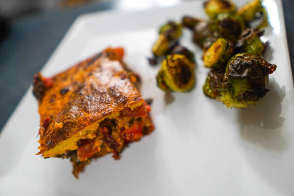 Polenta Casserole with Brussel Sprouts