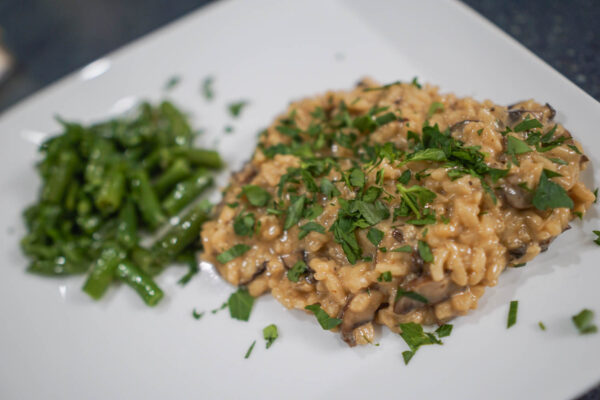 Mushroom Risotto and Green Beans