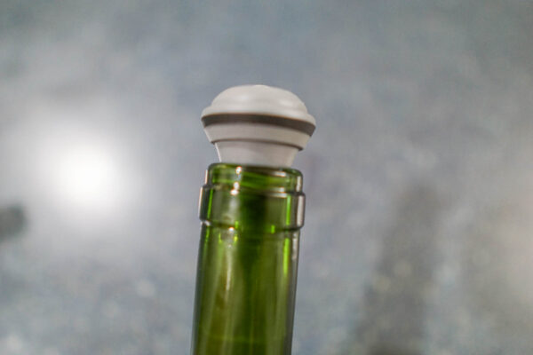Vacuvin Wine Saver Cap Inserted into a Wine Bottle