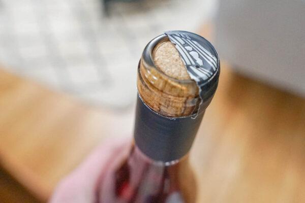 Cut Foil on Top of Wine Bottle